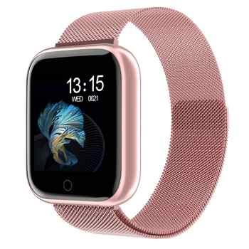 2020 stahl Smartwatch Frauen Wasserdichte Intelligente Uhr Männer T80 Bluetooth Heart Rate Monitor Fitness Tracker Für Apple IPhone Android