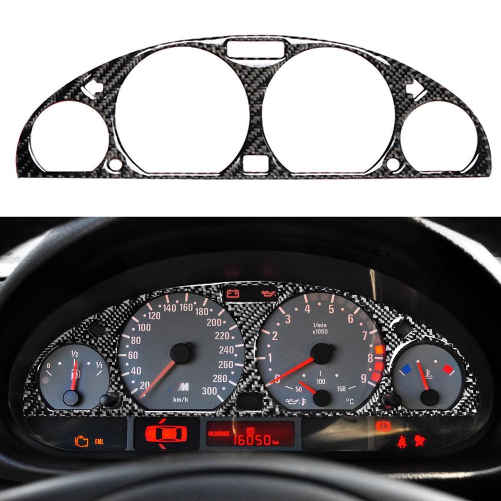 For BMW E46 M3 1998-2005 Car Black Carbon Fiber Internal Instrument Panel Decorative Frame Dashboard Cover Sticker Trim Interior