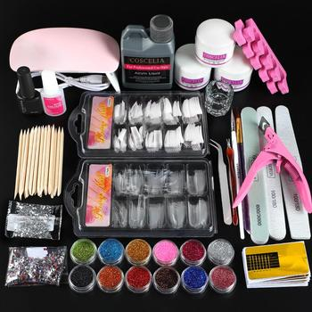 Pro Acrylic Nail Kit With Lamp Dryer Full Manicure Set Acrylic Powder Glitter Liquid Nail Glue Nail Tips Nail Art Tools Kit