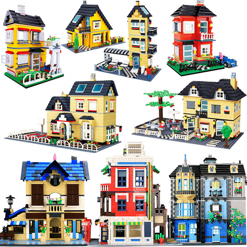 City Architecture Villa Cottage Legoings Puzzle Model Assembling Bricks Building Blocks Kit DIY Education Christmas Gifts