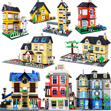 مدينة العمارة الفرنسية فيلا كوخ نموذج تجميع الطوب اللبنات عدة DIY بها بنفسك هدايا التعليم