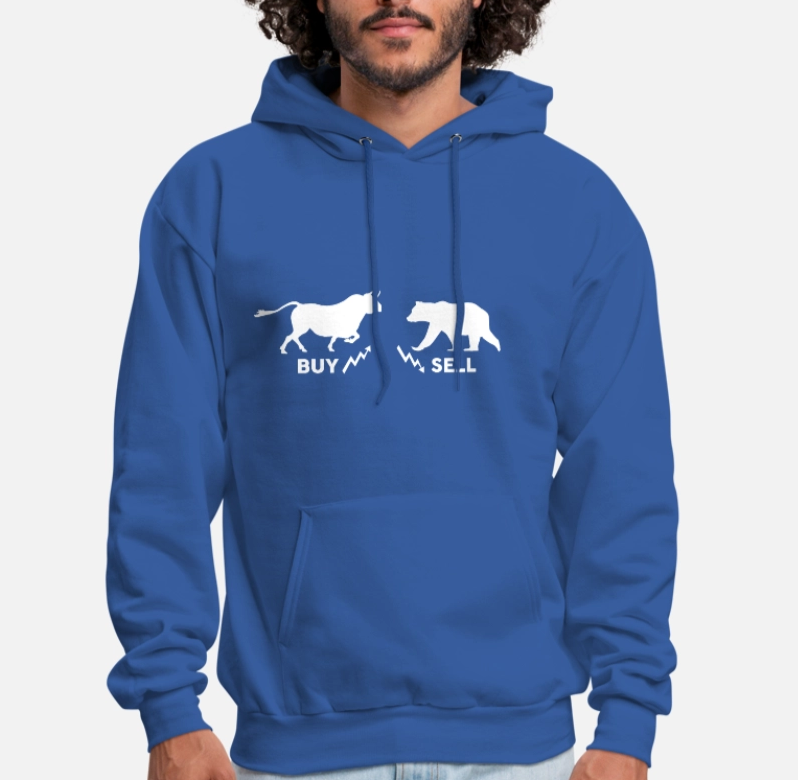 Bull Bear Market Buy Sell Stock Gift Day Trading Unisex Hoodie image