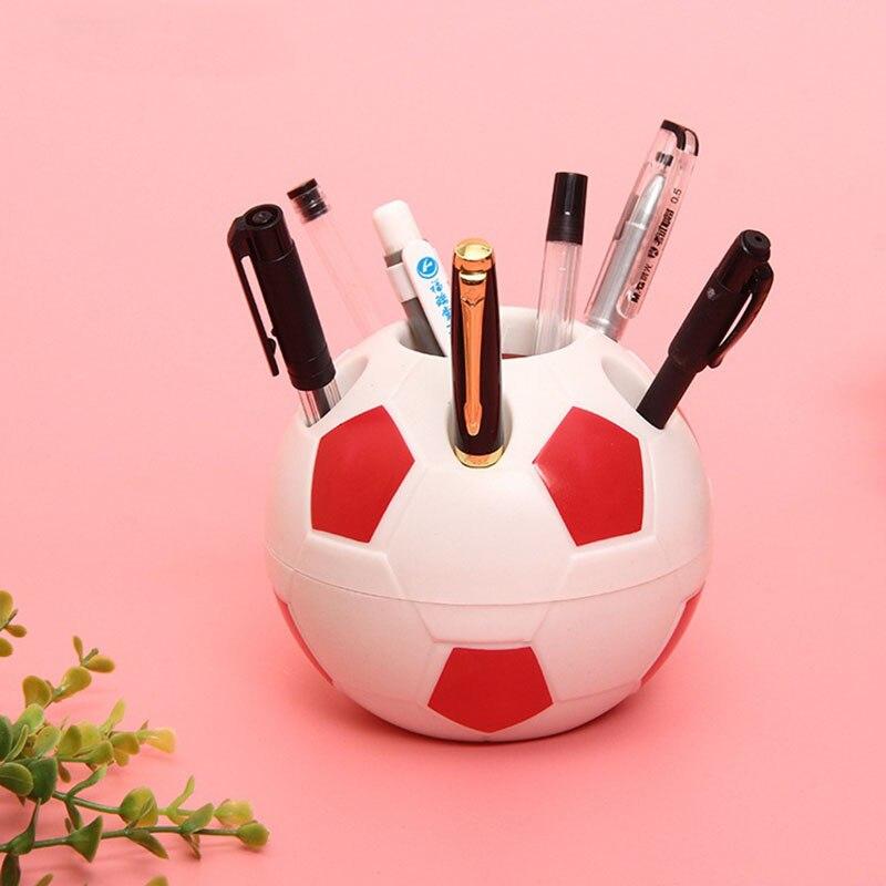 Купить с кэшбэком Cute Kawaii Football Pen Holder Kids Stationery Pencil Organizer Desk Set Accessories Offices School Round Container Desktop Box
