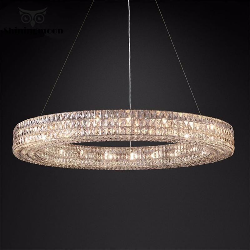 Modern Dining Room Crystal Suspension Pendant Lights France Luxury Gold Kitchen Lighting Fixture Hotel Hall Hanglamp Luminaria