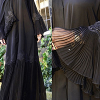 Middle East Woman Muslim Islamic Clothing Pleated Lace Black Kaftan Robe Dess Arab Elegant Bell Sleeve Ethnic Ramadan Prayer