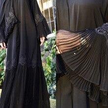 Orta doğu kadın müslüman İslam giyim pilili dantel siyah Kaftan Robe elbise arap zarif çan kollu etnik ramazan namaz