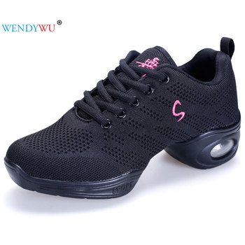 New Women's Dance Sneakers Shoes Flying Weave Breathable Cozy Jazz Shoes  Ladies Fitness Dancing Shoes High-quality Sports Shoes