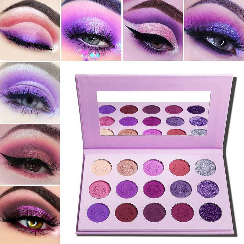 De'lanci Makeup Eyeshadow Palet 15 Warna Matte Shimmer Pigmen Glitter Eye Shadow Palet Pelangi Neon Make Up Palet-Purpl