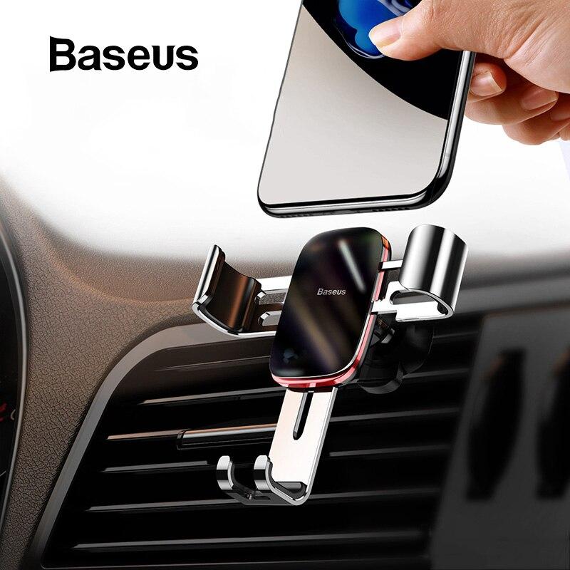 Baseus Universal Car Phone Holder For IPhone 11 Pro Samsung Huawei Car Air Vent Mount Holder Metal Gravity Mobile Phone Holder