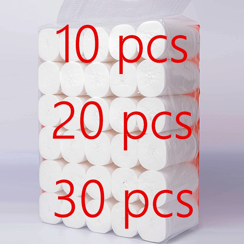 In Stock 10 Rolls/ Pack 4 Layers Toilet Roll Paper Primary Wood Pulp Toilet Paper Tissue Roll Home Bath Toilet Roll Paper