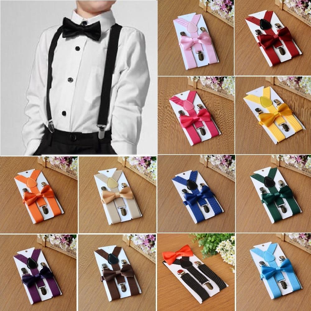Kids Elastic Suspenders Bow Tie Set Matching Tuxedo Suit Unisex Boy Girl Bowtie Wedding Costume Adjustable Y-Back Brace Belt