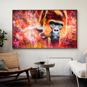 Wall Art Canvas Print Animal Painting Gorilla Smoking Cigar Picture For Living Room Home Decor No Frame
