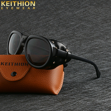 KEITHION Retro Steam punk Sunglasse Men Round Designer Steam Punk PU leather Shields
