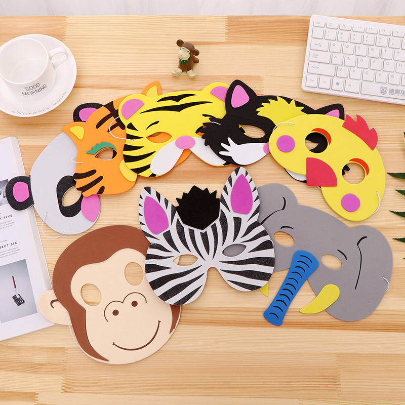 7 Pcs Different Animal Face Mask EVA Safety Soft Cute Drama Performance Prop Halloween Kid's Party Cosplay Toy
