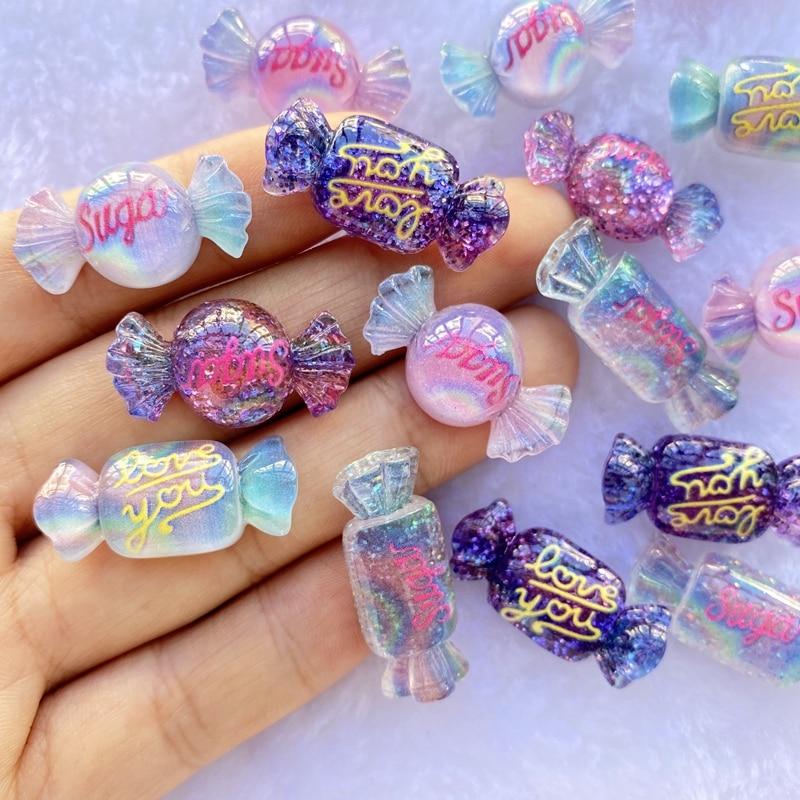 12Pcs New Cute Resin Mini Mixed Candy Flat Back Cabochon Scrapbook Kawaii DIY Embellishments Accessories E37