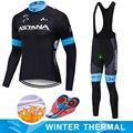 Team ASTANA inverno 2019 Nero JERSEY di Riciclaggio 9D Pantaloni Bike set mens Ropa Ciclismo in pile termico abbigliamento Bicicletta usura di Riciclaggio