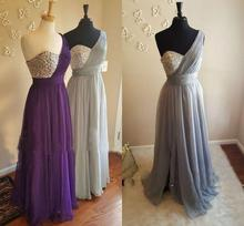 Silver Gray One Shoulder Bridesmaid Dresses Crystal Beaded Pleated Chiffon Floor Length Wedding Guest Gowns Maid of Honor Dress
