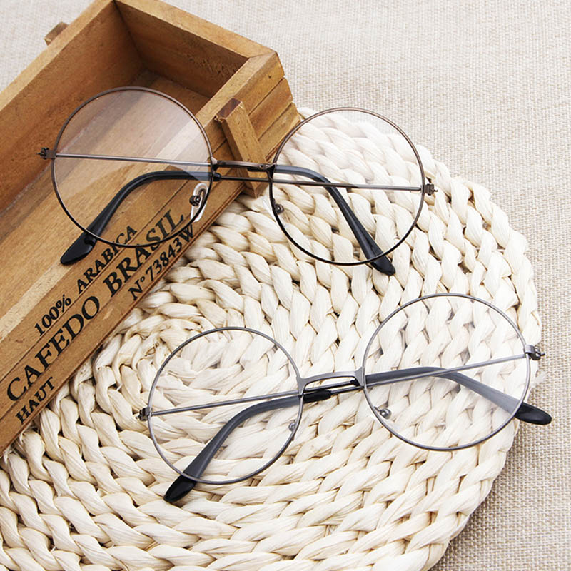 Round Plain Clear Glasses Ultra Light Metal Decoration Women Eyewear Frames Transparent Prescription Optical Spectacle Frames VL