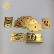 Уникальный дизайн 24K золото Посеребренная мозаика доллар США Дубай дизайн игральные карты покер с сертификатом для подарков игры палинг