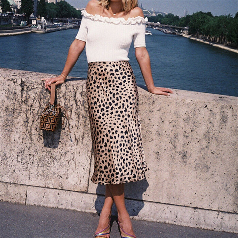 2019 New Stunning Leopard Print Midi Par Naomi Skirt Woman Sexy Skirt Multiple Sizes Realisation Wholesale High Waist Skirts