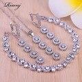 Risenj topo branco zircão cúbico prata cor jewellry rrings necklcae pulseira conjunto para as mulheres melhor casamento/noivado jóias