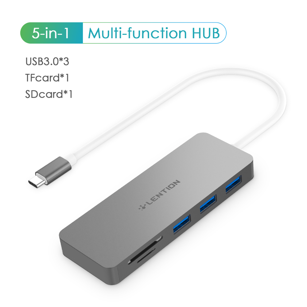 Dual Card Readers More Gigabit Ethernet Surface Book 2//Go Space Gray USB 3.0 Type C Data and Charging Adapter Compatible New MacBook Air//Pro Chromebook LENTION USB C Hub with 4K HDMI