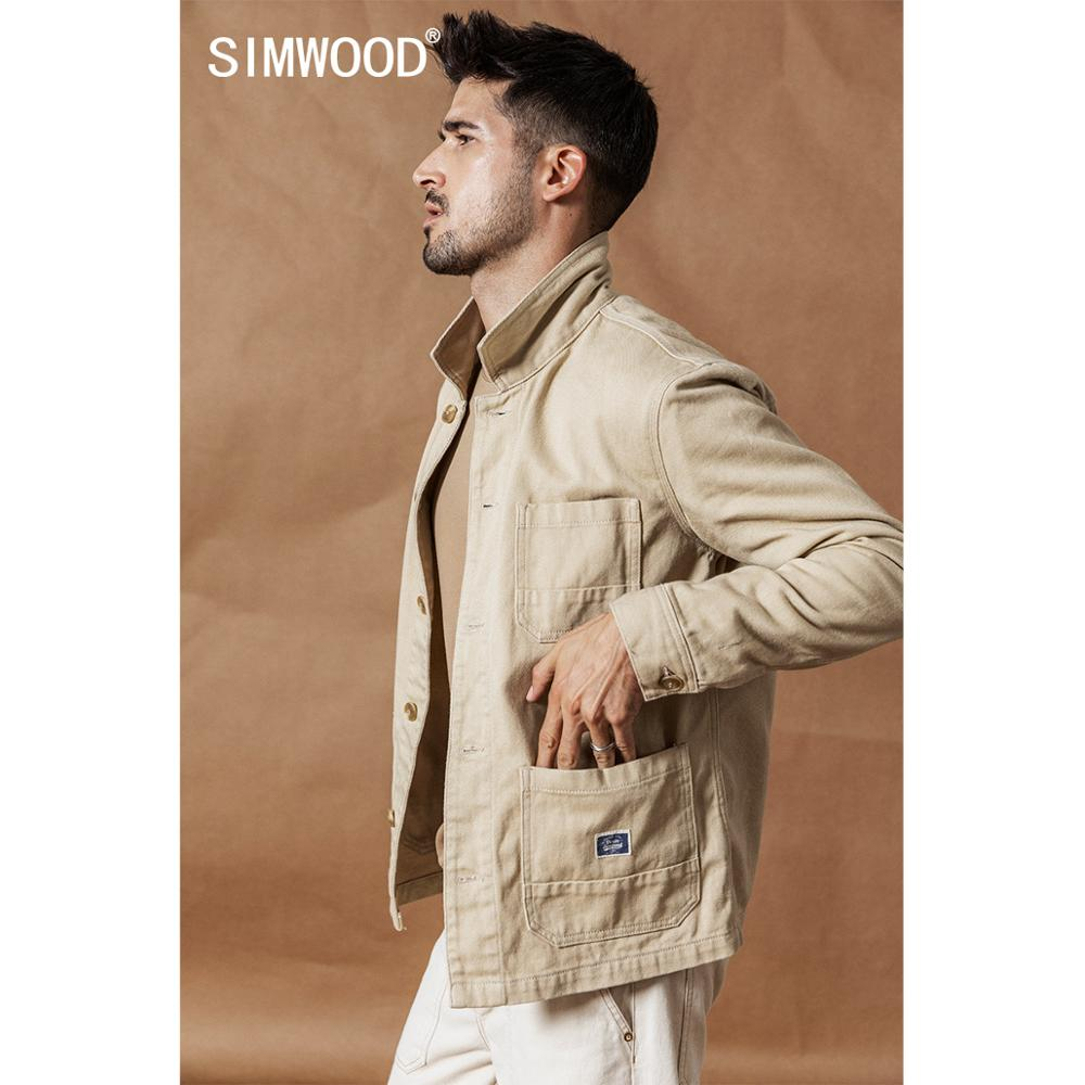 SIMWOOD 2020 Spring New Cargo Jacket Fashion 100% Cotton Jackets High Quality Outwear Brand Clothing Plus Size Coats SI980592