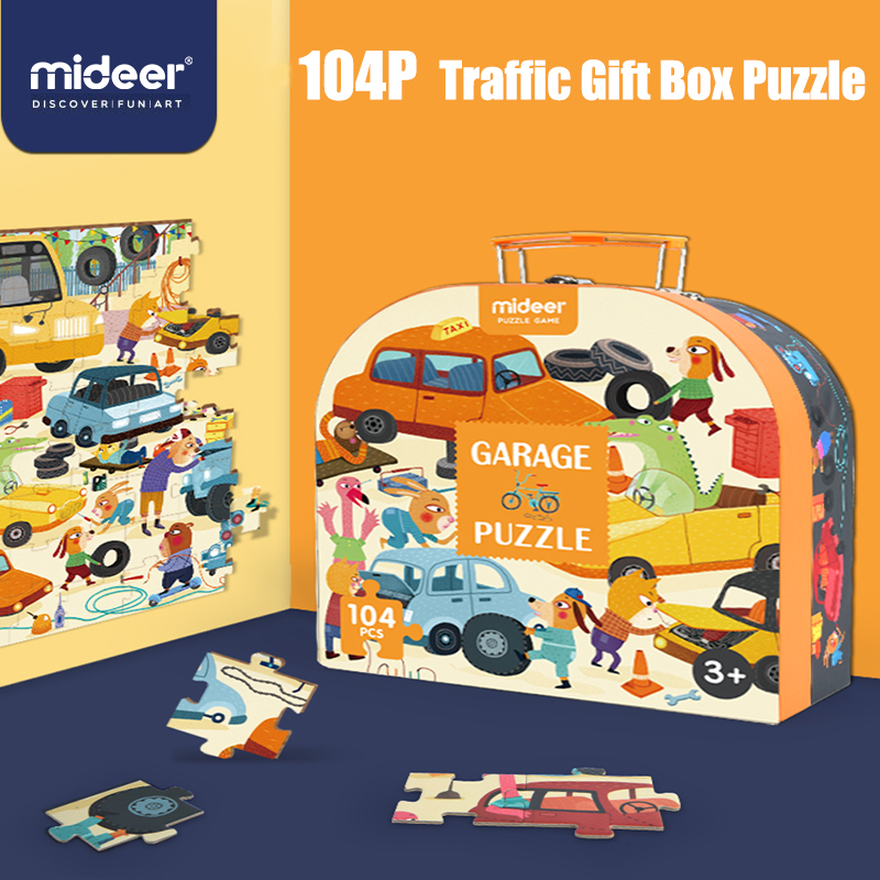 Mideer Puzzle Children's Puzzle Paper Baby 104P Traffic Educational Toy Puzzle Gift Box 3-4-6 Years Old For Children Gift