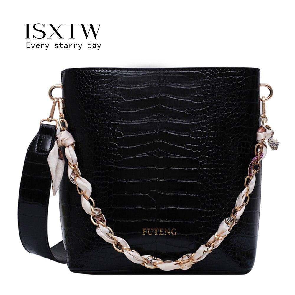 ISXTW Crocodile Pattern Women Handbag Leather Ladies Tote Bags Luxury Designer shoulder bag for women 2019 /B34