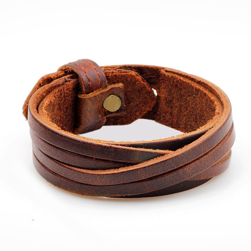 Vintage Punk Genuine Leather Bracelet Bangle for Men Handmade Leather Wristband Steampunk Motorcycle Jewelry Male Braclets 2019
