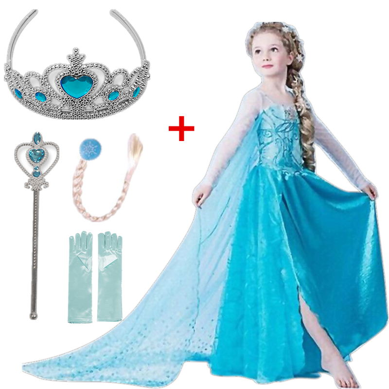 Girls Dress Elsa Dress Cosplay Party Vestidos Snow Queen Princess Dress For Girls Elza Halloween Christmas Baby Girl Clothing