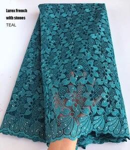 Image 4 - 5 ярдов кораллово красное серебряное французское кружево, африканская швейцарская Тюлевая ткань, очень аккуратная вышивка, нигерийская традиционная одежда высокого качества