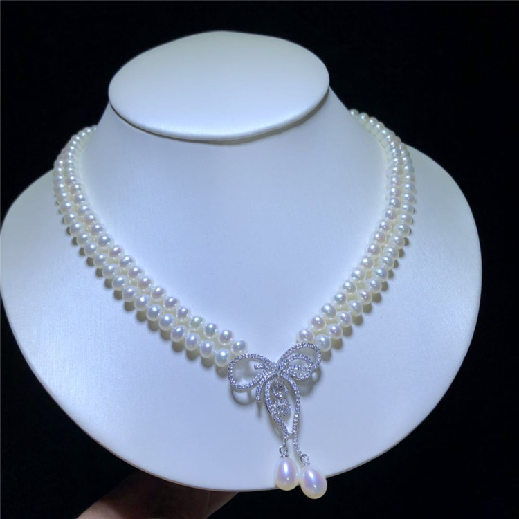 2rows freshwater pearl 7-8mm near round white AA necklace wholesale nature beads FPPJ +zircon pendant image