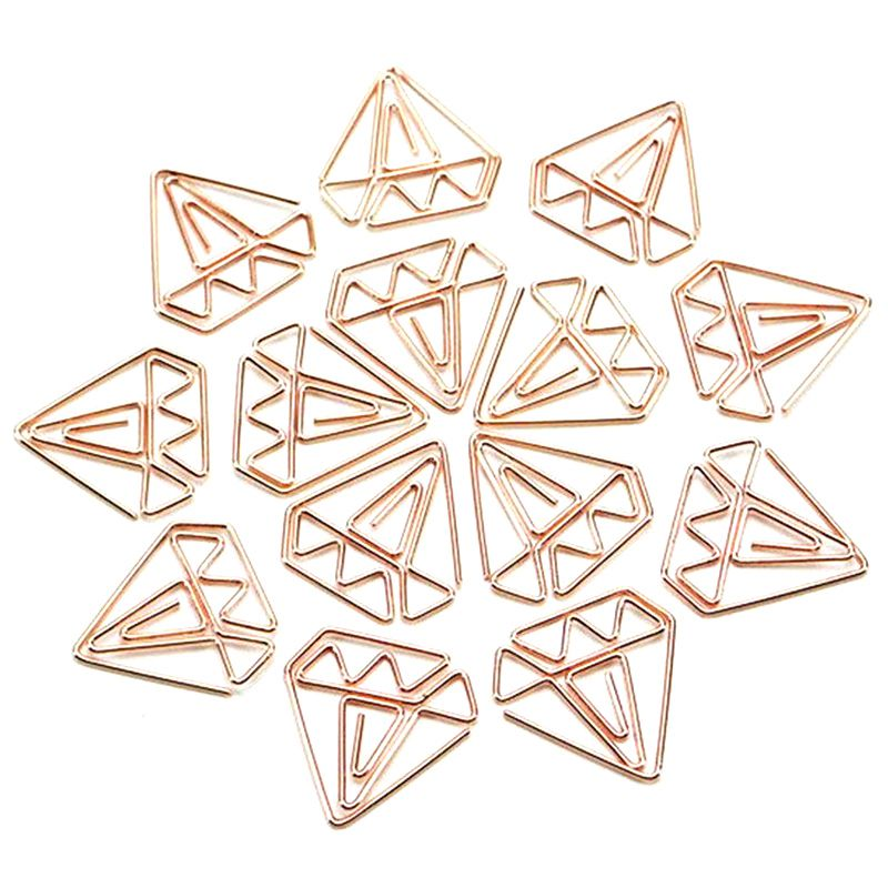 30pcs Rose Gold Paper Clips In Reusable Paper Clip Holder Clear Bookmarks Clips For Book
