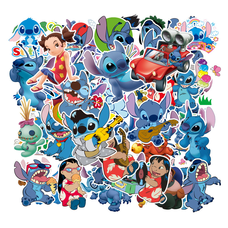 55Pcs Classics Lilo Stitch  Cute Cartoon Stickers For Skateboard Motorcycle Luggage Laptop Guitar Notebook Toy Sticker