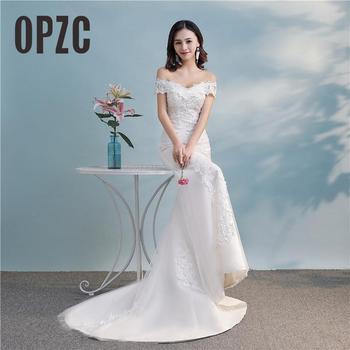 Cheap New Arrival Lace Mermaid Wedding Dresses 2020 Boat Neck Off Shoulder Bride Dress Vestido de noiva Robe mariage - discount item  27% OFF Wedding Dresses