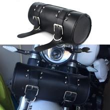 Motorcycle Saddlebag Leather Saddle Luggage PU Bags Front Fork Tool Bag For Harley Sportster Chopper Bobber Cruiser Dyna Softail