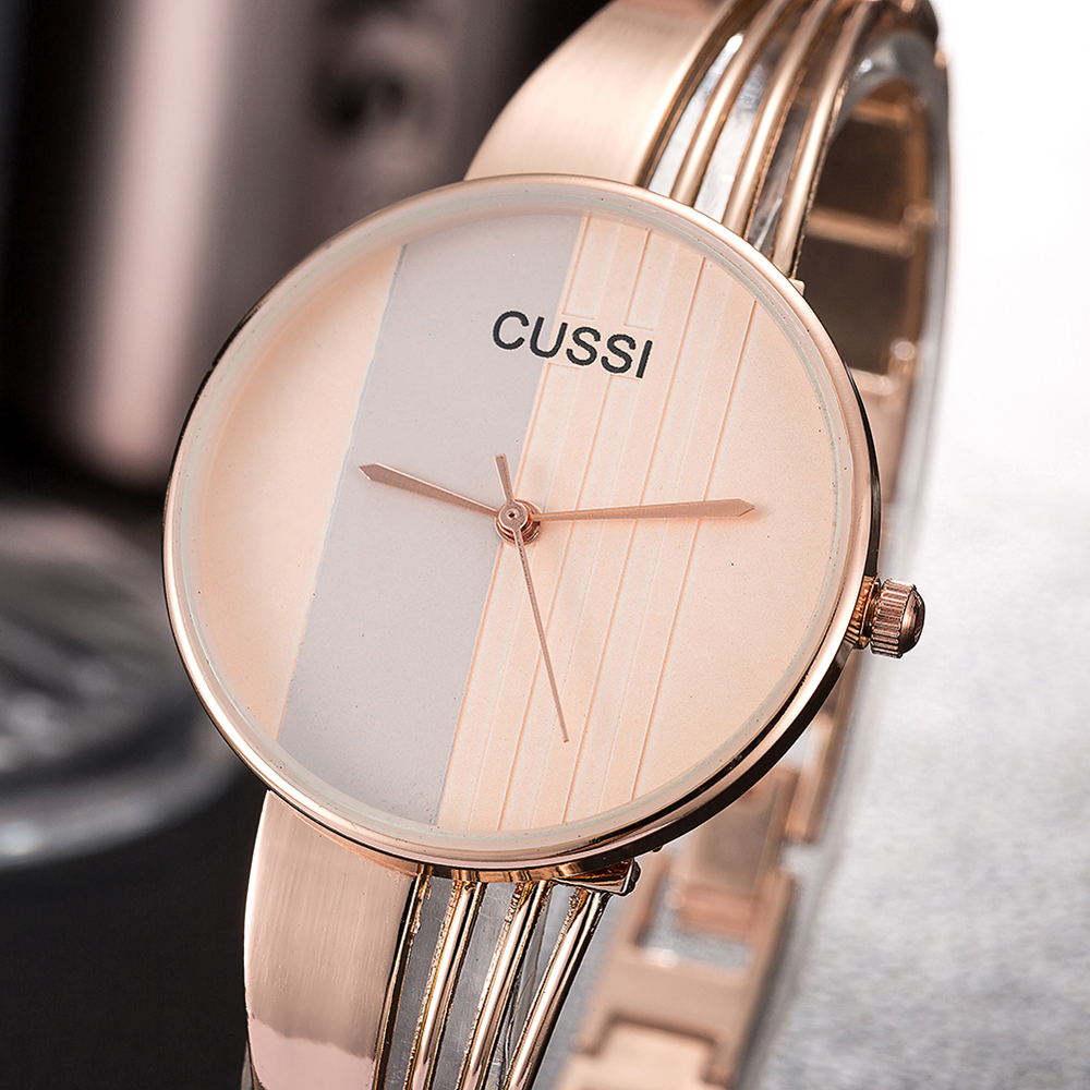 CUSSI Luxury Silver Women Watches Fashion Bangle Elegant Rose Gold Quartz Wristwatch Ladies Watch Bracelet Clock Reloj Mujer