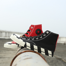 High Top Breathable Unisex Vulcanized Women Sneakers Flat Casual Classic Men Canvas Shoes Red White Black Lovers Drop Shipping