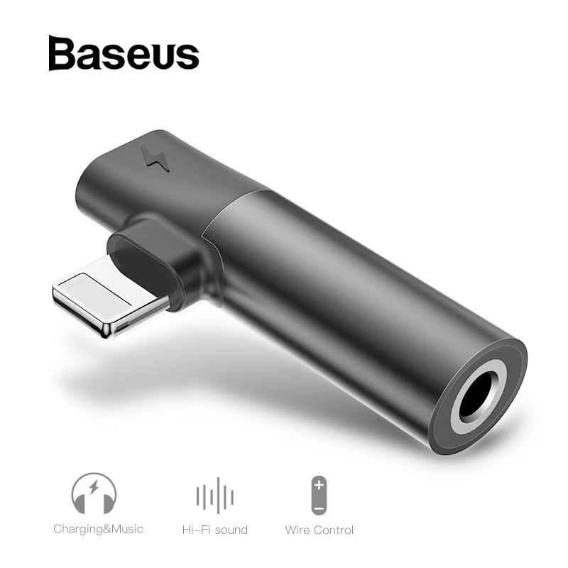 Baseus 2 In 1 Audio Adapter For IPhone Xs Max XR Xs X 8 Converter To 3.5mm Aux Jack Earphone Splitter Extension Charging Adapter