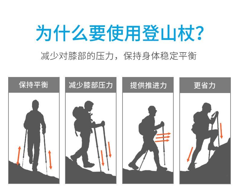 telescópico alpenstock 3 seção portátil caminhadas equipamentos 230g peso 1pc