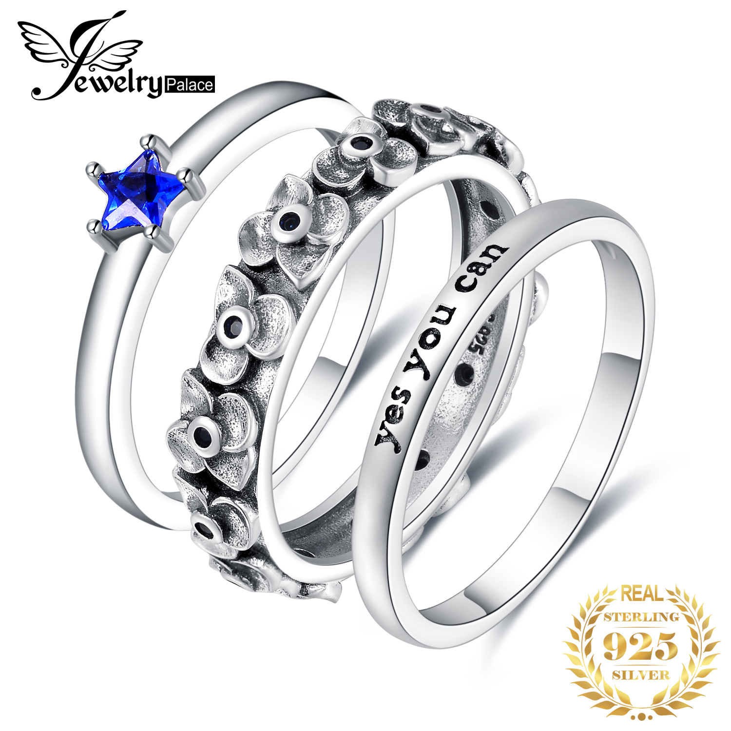 JPalace Created Blue Spinel Ring Set 925 Sterling Silver Rings For Women Anniversary Stackable Rings Sets Silver 925 Jewelry