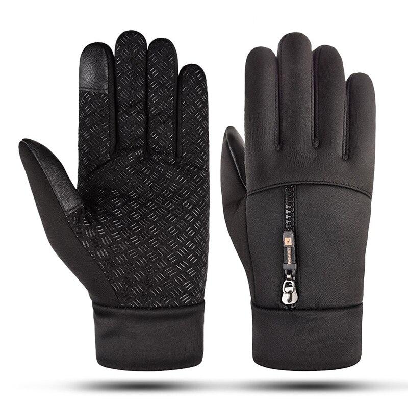 Unisex Touch Screen Winter Snowbord Gloves Waterproof Gloves Zipper Riding Windproof Warm Fleece Skiing Cycling Gloves 2020