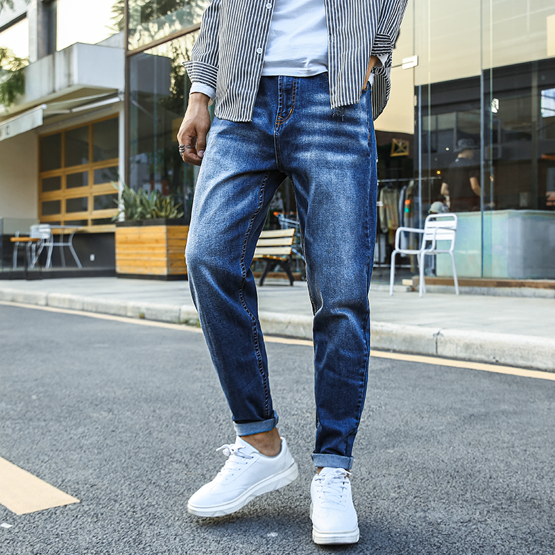 2020 Spring Summer Denim Cotton Men's Loose Harem Jeans Pants Stretched Straight Jeans Trousers Big Size