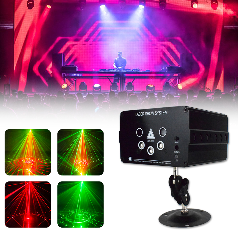 WUZSTAR Disco Light 48 Pattern LED Laser Projector Sound Christmas Party DJ Light Voice-Activated Disco Xmas For Wedding