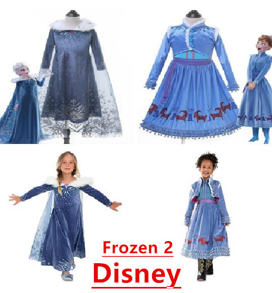 New Frozen 2 Meisjes Elsa Dress Party Vestidos 2 Cosplay Kleding Anna Snow Queen Print Verjaardag Prinses Jurk Elza Kids Kostuum