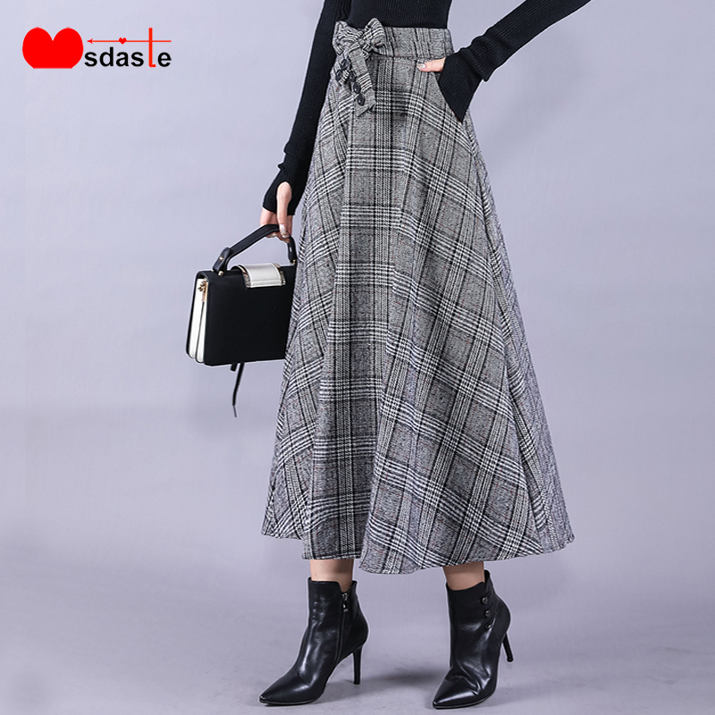 Winter Woolen Skirts Women 2019 High Waist Female Belted Saia Plus Size S~4XL Vintage Plaid Midi Jupe Long Office Woman Skirt
