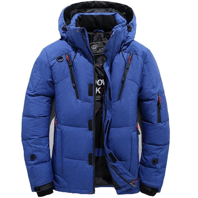 Мужская парка на пуху высокого качества, Толстая теплая зимняя куртка с капюшоном, плотное пальто на утином пуху, повседневное облегающее пальто со множеством карманов для мужчин
