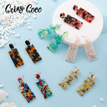Cring Coco Hawaiian Acrylic Drop Earrings Vintage Bohemia Brown Color Big Geometric Quare Earring Party Jewelry for Women Gifts