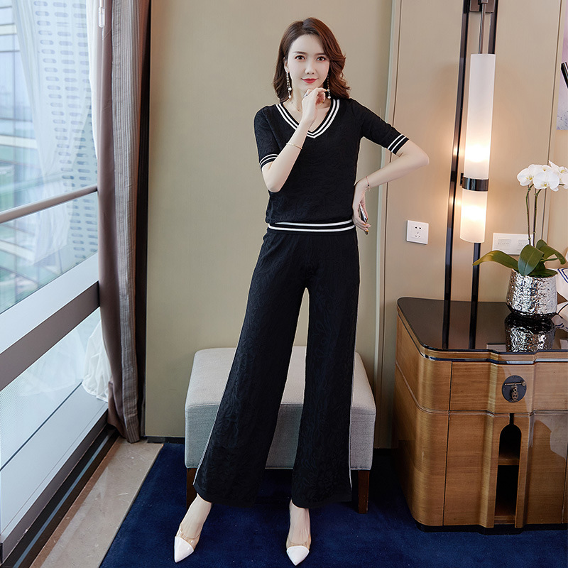 WOMEN'S Suit 2019 Summer New Style Fashion Korean-style Casual Short-sleeved Knitted Sweater Pants Two Pieces-Wholesale 9429